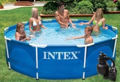 Bazén INTEX Metal Frame 4,57 x 1,07m set + písková filtrace 4,5m3/hod