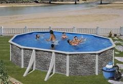 Bazén GRE Iraklion 6,1 x 3,75 x 1,2m set + písková filtrace 7m3/h