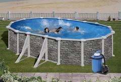Bazén GRE Iraklion 6,1 x 3,75 x 1,32m set + písková filtrace 7m3/h